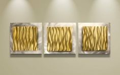 Gold Wall Art 'Gold Essence' - 38x12 in. - Gold Color Metal Artwork. Simple, Contemporary Art Design Ideal for Modern Feng Shui Wall Décor. Gold Coloring Creates Eye-Catching Accent. by Chroma Metal Art. $189.00. Materials/Paint - ground & brushed aluminum, transparent acrylic w/ UV protection. Made in the USA - artwork designed by professional modern metal artist. Hang - mount art panels as shown or in any orientation. Placement/Care - clear-coated for ease of cleaning and for...
