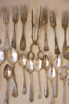  vintage silverware tarnished