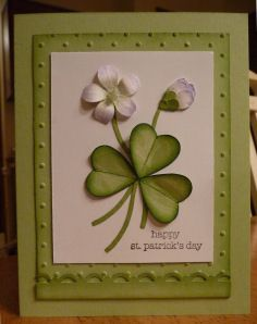 Bird builder punch ; Punch art ; Shamrock ; Teeny tiny wishes ; St. Patrick's Day ; Scallop trim border punch