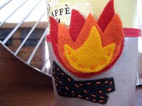 Campfire Coffee Cozy free DIY craft template by Kathy Beymer for MerrimentDesign.com