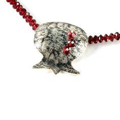 Garnet Necklace, Pomegranate Pendant, January Birthstone, Pomegranate Sterling Silver Necklace, Silver Pomegranate, Red Garnet Necklace