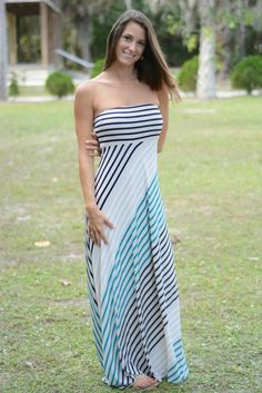 GOOD LUCK CHARM Striped Strapless Maxi dress Shop Simply Me Boutique – Simply Me Boutique