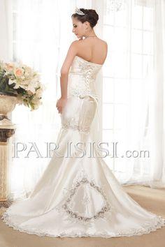 vestidos de novia Marfil Encaje Mermaid Sin tirantes satén Elegante Moderno Glamouroso Cristals Sin Mangas