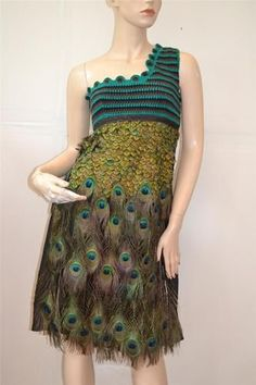 feather crochet | Prada Peacock Feather Cotton Crochet One Shoulder Sleeveless Dress Si ...