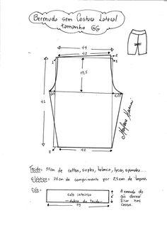 Bermuda lycra M Sewing Pants, Sewing Clothes, Diy Clothes, Dress Sewing Patterns, Sewing Patterns Free, Clothing Patterns, Jolie Lingerie, Sewing Lingerie, Bra Pattern