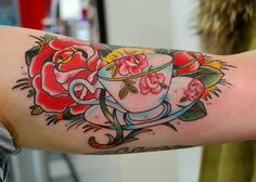 tea cup tattoo/flowers