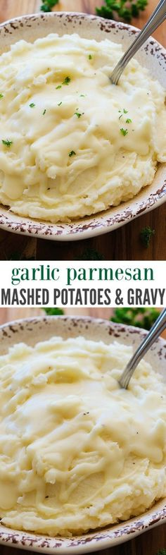 garlic parmesan mashed potatoes and gravy, potatoes, gravy, garlic: warm side dish. Gravy For Mashed Potatoes, Parmesan Mashed Potatoes, Potato Gravy, Garlic Parmesan, Baked Potatoes, Cheesy Potatoes, Potato Dishes, Food Dishes, Side Dishes
