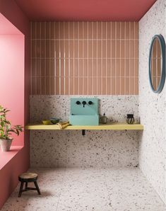 Mint- Micasarevista Bathroom Inspo, Bathroom Colors, Bathroom Inspiration, Modern Bathroom, Small Bathroom, Colorful Bathroom, Bathroom Sinks, Bathroom Ideas, Bronze Bathroom