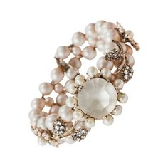 Miriam Haskell Pearl and Diamante Bracelet | From a unique collection of vintage beaded bracelets at https://www.1stdibs.com/jewelry/bracelets/beaded-bracelets/