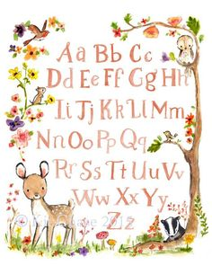 A sweet little deer, a nosy badger, and their friends frame this woodland inspired alphabet. - art print from an original watercolor, gouache, and acrylic painting by Kit Chase. - archival matte paper