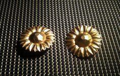 ORECCHINI ELEGANTI ANNI 1980s Earrings RADA  Golden Huge Daisy Vtg Fashion