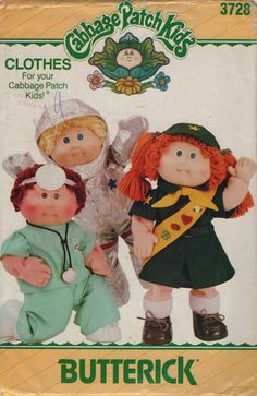1980s Cabbage Patch Kids Doll Clothes Pattern 3728 401 Professional People Girl Scout, Astronaut and Doctor Uniforms vintage sewing pattern by mbchills