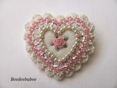 Lovely little Valentine's Day style pin - felt with beaded design - just beautiful! pink scalloped heart pin