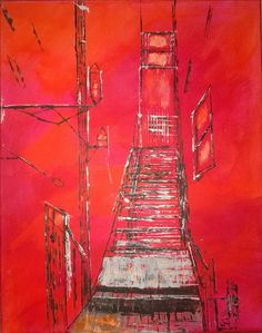 Abstract Acrylic Painting by Denise Pino  Alley Escape 16 x 20