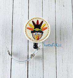Thanksgiving Turkey Felt Badge Holder with by SantaFeKiss on Etsy