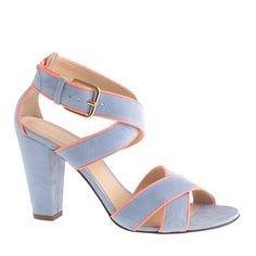Some periwinkle, a little orange pipping, a chinky heel, AND they are on sale! Periwinkle Chunky Suede Heels by jcrew