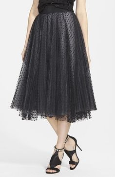 Milly Dot Tulle Flared Midi Skirt available at #Nordstrom