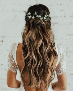 97 Inspirational Wedding Hairstyles Ideas 25 Most Elegant Looking Curly Wedding Hairstyles Haircuts, Stunning Wedding Hairstyles for the 2019 Season Hairstyle, top 5 Wedding Hair Trends for 2019 Tania Maras, 24 Medium Length Wedding Hairstyles for Wedding Hairstyles For Long Hair, Bride Hairstyles, Down Hairstyles, Hairstyle Ideas, Waterfall Braid With Curls, Braids With Curls, Crown Braids, Romantic Wedding Hair, Wedding Hair Down