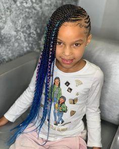 Long Blue Ombre Lemonade Braids - Best Lemonade Braids - Braid Hairstyles for Bl. - Braids with beads Black Toddler Girl Hairstyles, Black Girl Braided Hairstyles, Baby Girl Hairstyles, Toddler Hair, Toddler Braids, Box Braids Hairstyles, Lemonade Braids Hairstyles, My Hairstyle, Thin Hairstyles