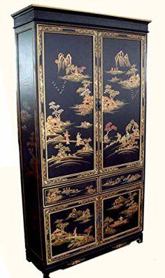 Oriental Armoire in Antique Black with Rich Gold Landscap...