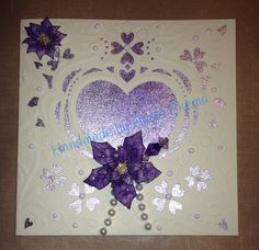 6x6 card using Die'sire Creat a card die & my hand made flowers & decorative pin