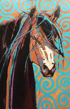 SOLD 40 x 30 Buckskin Stallion Tracy Miller Fine Art Gallery, Manitou Springs, CO