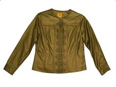 Ruby Rd Venezia Zip Up Faux Leather Jacket Gold Metallic 8P