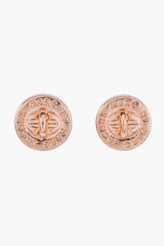 MARC BY MARC JACOBS Rose Gold Logo Turnlock Stud Earrings