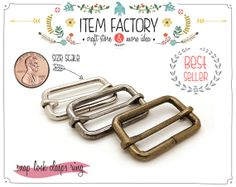 2pieces 1 X 1.5 Buckles Sliders  Brush Brass Strap by ITEMFACTORY, $4.99