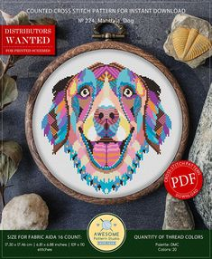 This is modern cross-stitch pattern of Mandala Dog for instant download. You will get 7-pages PDF file, which includes: - main picture for your reference; - colorful scheme for cross-stitch; - list of DMC thread colors (instruction and key section); - list of calculated thread