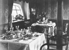 Photograph of the dining room on the Hindenburg