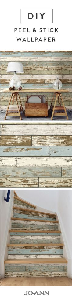 Easily add the look of rustic charm into your home with this distressed wood peel and stick wallpaper. We particularly love the idea of adding it to your stairs for a pop of personality and color. Source by joann Look Wallpaper, Peal And Stick Wallpaper, Bathroom Wallpaper, Bathroom Mirrors, Wall Mirrors, Wallpaper Ideas, Home Decoracion, Home And Deco, How To Distress Wood