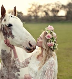 Flower crown by Fairy Nuff Flowers. Photography by Marianne Taylor Beautiful Horses, Beautiful Bride, Animals Beautiful, Beautiful Women, Estilo Hippy, Bridal Hair And Makeup, Wedding Photoshoot, Dresses Uk, Winter Dresses
