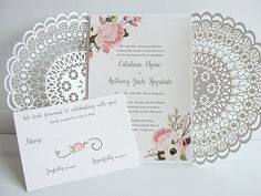 Wedding invitations by Lavender Paperie, wedding inspiration, wedding ideas, wedding planning Doily Wedding, Bohemian Wedding Invitations, Laser Cut Wedding Invitations, Wedding Jitters, Bridal Hangers, Cheap Wedding Venues, Wedding Catering, Wedding Trends, Wedding Ideas