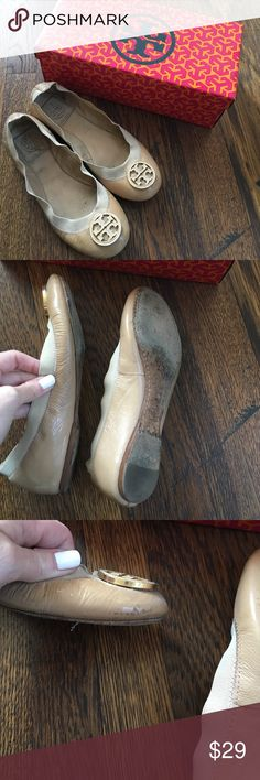 Tory Burch Camellia Pink Caroline flats size 6 Nude colored flats. Used. Have a few scuffs as shown. Tory Burch Shoes Flats & Loafers