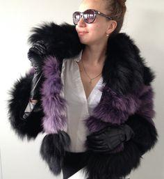 Bolero jacket coat fur arctic fox  Lilac