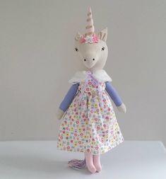Unicorn Doll, Linen Unicorn named Sparkles