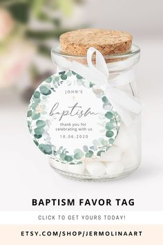 Baptism Ideas, Baptism Favors, Mom Birthday Crafts, Christening Invitations, Thank You Tags, Favor Tags, Greenery, Diy Projects, Templates