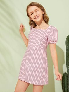 To find out about the Girls Puff Sleeve Striped Dress at SHEIN, part of our latest Girls Dresses ready to shop online today! Cute Girl Dresses, Cute Girl Outfits, Toddler Girl Dresses, Cute Summer Outfits, Kids Outfits, Casual Outfits, Tween Fashion, Fashion Outfits, Cute Young Girl