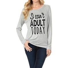 TAYLOR PERFORM  I CANT ADULT TODAY  LONG SLEEVES TOP WITH SCOOP NECK Grey Large -- More info could be found at the image url.Note:It is affiliate link to Amazon.