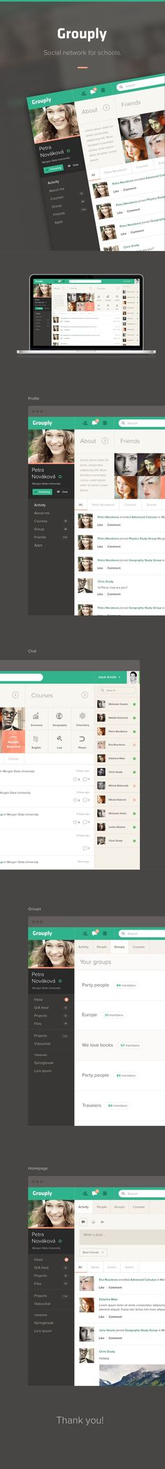 Grouply UI/UX, Web Design #flat. If you like UX, design, or design thinking, check out theuxblog.com