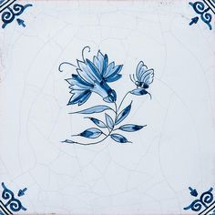Small Flowers Blue Glazed 5x5 Ceramic Tiles