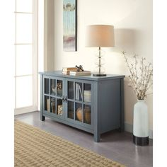 Better Homes and Gardens Oxford Square Blue TV Stand and Console Is Designed to Accommodate Flat Panels TVs up to up to 135 lbs Tv Furniture, Living Room Furniture, Living Room Decor, Dining Rooms, Furniture Ideas, Furniture Dolly, Classic Furniture, Cheap Furniture, Garden Furniture