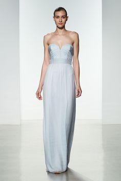 Amsale Bridesmaids Spring 2016 - Chiffon shown in Ice Amsale Bridesmaid, Grey Bridesmaid Dresses, Wedding Dresses, Bridesmaids, Tulle Dress, Strapless Dress Formal, Boston, Chiffon Gown, Bridal Collection