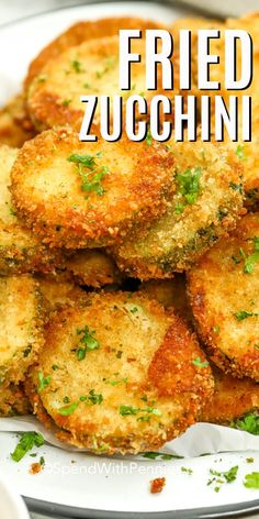 Fried zucchini is a family favorite, and is so easy to make fried in a pan, in the air fryer, or even baked in the oven. Just slice zucchini, coat in bread crumbs with cheese, and fry until golden & crispy. Serve with an assortment of dipping sauces for a fun appetizer or side dish. #spendwithpennies #friedzucchini #zucchinirecipes #deepfried #airfryer #sidedish Fried Zucchini Recipes, Zucchini Fries, Vegetable Recipes, Baked Fried Zucchini, How To Fry Zucchini, Fried Zucchini Sticks, Oven Fried Zucchini, Zucchini Bread, Healthy Dinner Recipes