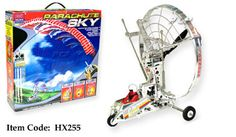 """10"""" RC Parachute sky airplane  The Parachute Sky is a paraglider, a radio-controlled, battery-powered parachute with motor and wheels. The paraplane can steer left and right, climb, cruise, and descend. The large parafoil canopy will bring the parachute surfer gently back to earth. You'll have tons of fun with the Parachute Sky !"""