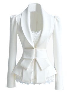 Slim fit White Blazer with Bow Waist