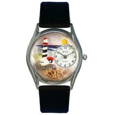 Whimsical Womens Lighthouse Black Leather Watch