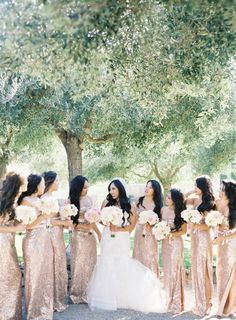 Sparkly maids: http://www.stylemepretty.com/2015/04/08/glamorous-tented-sonoma-winery-wedding/ | Photography: Jen Huang - http://jenhuangphoto.com/