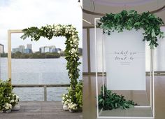 elegant yet modern minimalist wedding with a dreamy white palette with shades of rose gold and greens from foliage and a touch of plum Reception Backdrop, Ceremony Arch, Wedding Ceremony, Modern Minimalist Wedding, Minimal Wedding, Arco Floral, Melbourne Wedding, Photo Booth Backdrop, Wedding Signage